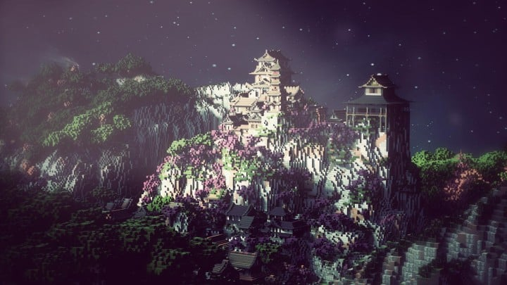 Project Kuni no tori, a japanese citadel minecraft building ideas download save amazing 5