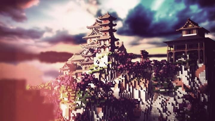 Project Kuni no tori, a japanese citadel minecraft building ideas download save amazing 6