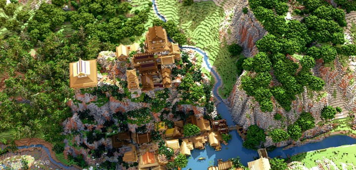 Project Kuni no tori, a japanese citadel minecraft building ideas download save amazing 7