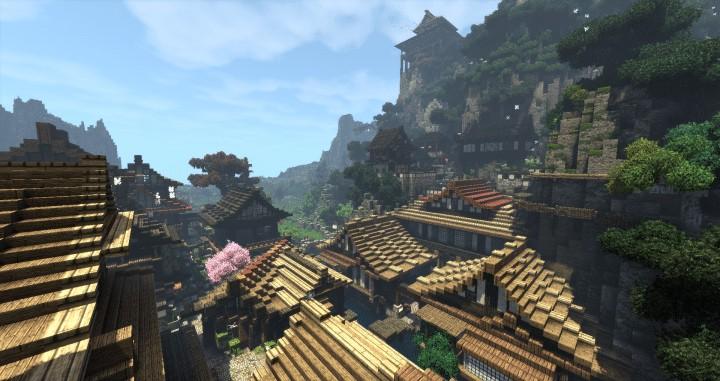 Project Kuni no tori, a japanese citadel minecraft building ideas download save amazing 9