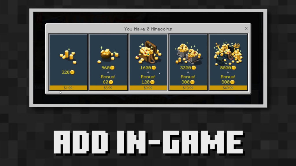 Buy Minecoins in-game