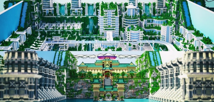 Banghai City and The Palace of Leng Minecraft Building Ideas download chineese city amazing complete save 4