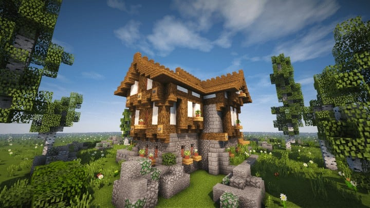 Boitameu Minecraft Timelapse Cozy little Medieval House Timelapse Download amazing default texture pack 5