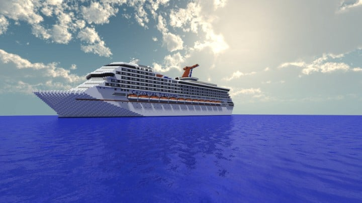 Carnival Triumph 1 to 1 Scale Real Cruise Ship Exterior Only Minecraft building download save ocean