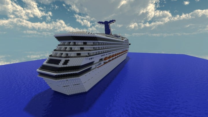 Carnival Triumph 1 to 1 Scale Real Cruise Ship Exterior Only Minecraft building download save ocean 2