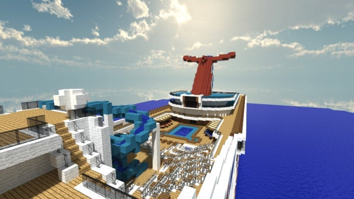 Carnival Triumph 1 to 1 Scale Real Cruise Ship Exterior Only Minecraft building download save ocean 3