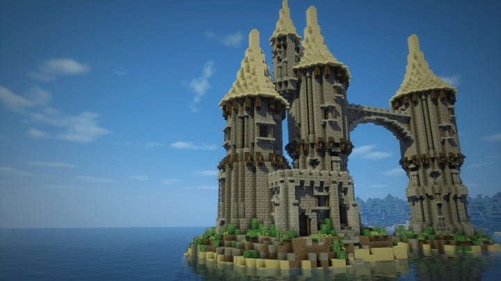 How to build a fantasy island castle minecraft building inc for Build a castle house