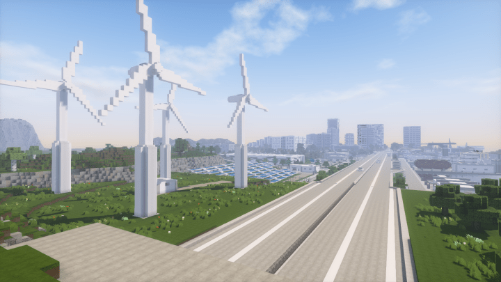 Solar Power Plant And Wind Turbines Minecraft Building Inc
