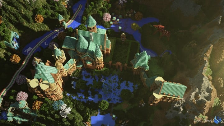 Special Effect Wonderland castle amzing beautiful download minecraft building ideas save
