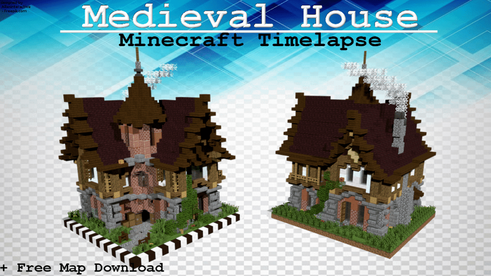 Mediveal Minecraft House Timelapse Speed Build Free Map - Minecraft house map