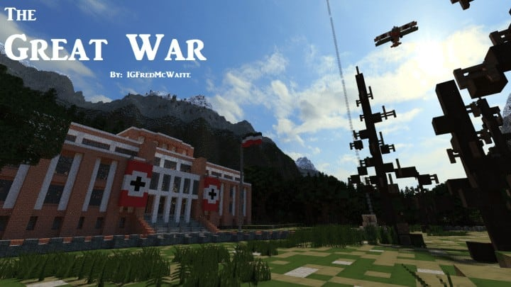 he Great War Battlefield 1 Inspired Map  Download Minecaft buildings ideas gaming zeppelin war amazing 10