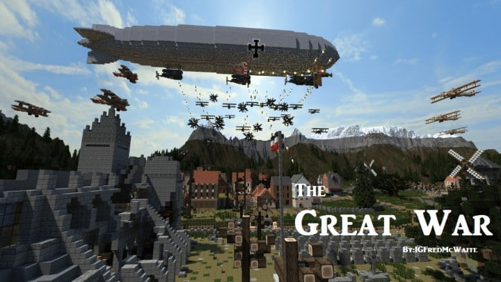 he Great War Battlefield 1 Inspired Map  Download Minecaft buildings ideas gaming zeppelin war amazing 2