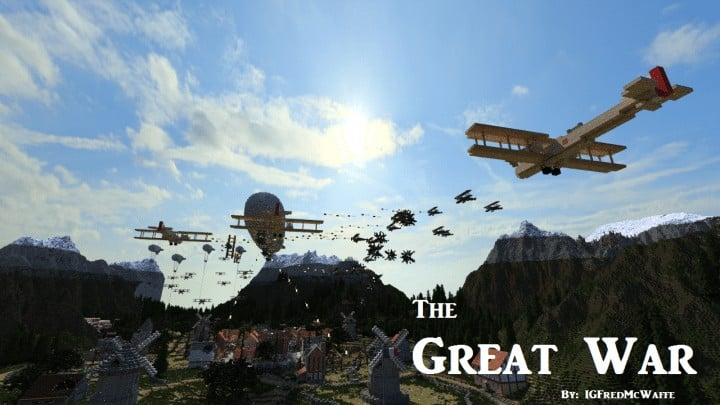 he Great War Battlefield 1 Inspired Map  Download Minecaft buildings ideas gaming zeppelin war amazing 3