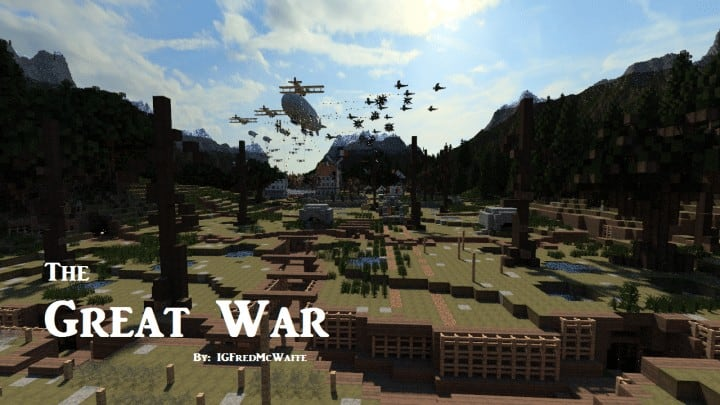 he Great War Battlefield 1 Inspired Map  Download Minecaft buildings ideas gaming zeppelin war amazing 5