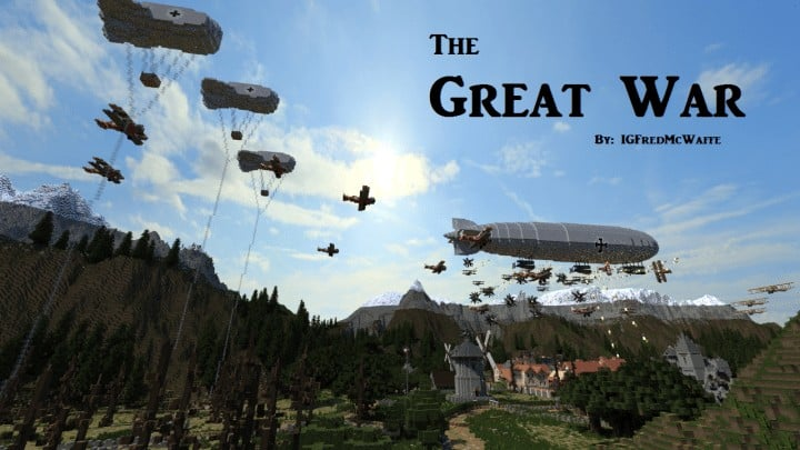 he Great War Battlefield 1 Inspired Map  Download Minecaft buildings ideas gaming zeppelin war amazing 6