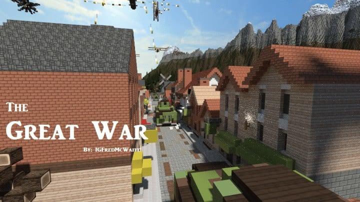 he Great War Battlefield 1 Inspired Map  Download Minecaft buildings ideas gaming zeppelin war amazing 7