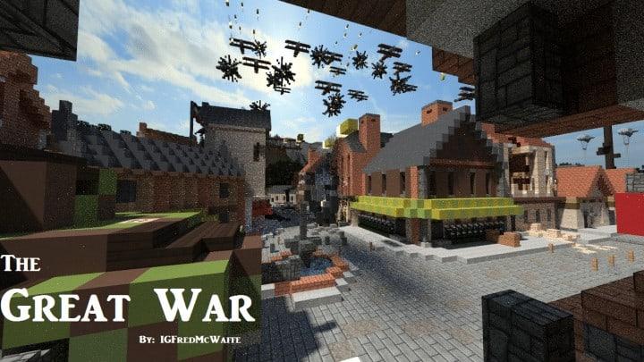 he Great War Battlefield 1 Inspired Map  Download Minecaft buildings ideas gaming zeppelin war amazing 9