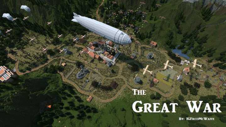 he Great War Battlefield 1 Inspired Map  Download Minecaft buildings ideas gaming zeppelin war amazing