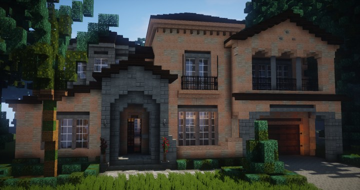 Mediterranean style traditional house minecraft for Traditional house building