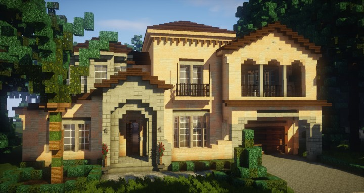 Mediterranean style traditional house minecraft for Mediterranean modular homes